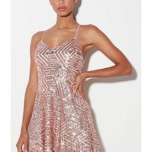 Lulus Rose Gold Sequin Skater dress Size XS